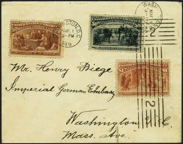 Lot 25 - United States 19th Century Stamps and Postal History 1893 Columbian Exposition Issue (230-245) -  H. R. Harmer Inc Sale 3039: The