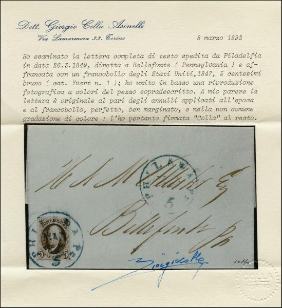 Lot 1010 - United States 19th Century Stamps and Postal History 1847 Issue (1-2) -  H. R. Harmer Inc The Ing. Pietro Provera Collection of United States Stamps and Covers Part II