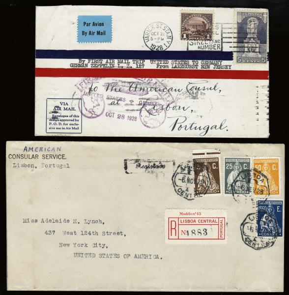 Lot 3117 - United States and Foreign Airmail Covers U.S. Zeppelin Flights -  H. R. Harmer Inc United States, British Commonwealth, and Foreign Stamps, Covers, and Collections