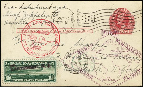 Lot 3121 - United States and Foreign Airmail Covers U.S. Zeppelin Flights -  H. R. Harmer Inc United States, British Commonwealth, and Foreign Stamps, Covers, and Collections