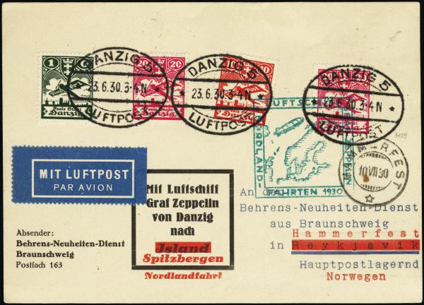 Lot 3137 - United States and Foreign Airmail Covers Foreign Zeppelin Flights -  H. R. Harmer Inc United States, British Commonwealth, and Foreign Stamps, Covers, and Collections