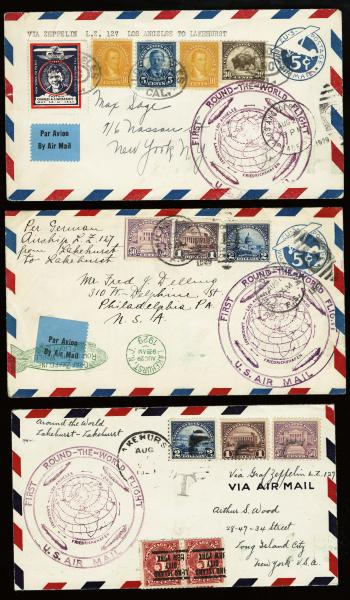 Lot 3118 - United States and Foreign Airmail Covers U.S. Zeppelin Flights -  H. R. Harmer Inc United States, British Commonwealth, and Foreign Stamps, Covers, and Collections