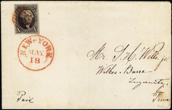 Lot 1022 - United States 19th Century Stamps and Postal History 1847 Issue (1-2) -  H. R. Harmer Inc The Ing. Pietro Provera Collection of United States Stamps and Covers Part II