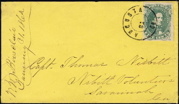 Lot 1291 - Confederate States of America Postal History Confederate States General Issues -  H. R. Harmer Inc The Ing. Pietro Provera Collection of United States Stamps and Covers Part II
