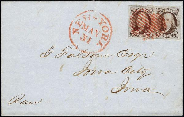 Lot 1007 - United States 19th Century Stamps and Postal History 1847 Issue (1-2) -  H. R. Harmer Inc The Ing. Pietro Provera Collection of United States Stamps and Covers Part II