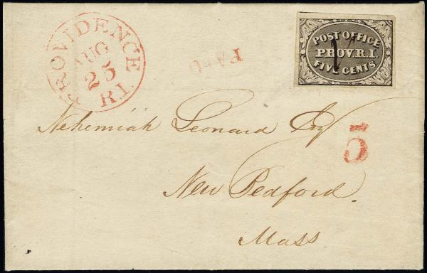 Lot 1005 - United States 19th Century Stamps and Postal History Postmasters Provisionals -  H. R. Harmer Inc The Ing. Pietro Provera Collection of United States Stamps and Covers Part II