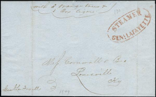 Lot 3019 - united states postal history Steam, Steamboat and Steamship Covers -  H. R. Harmer Inc United States, British Commonwealth, and Foreign Stamps, Covers, and Collections