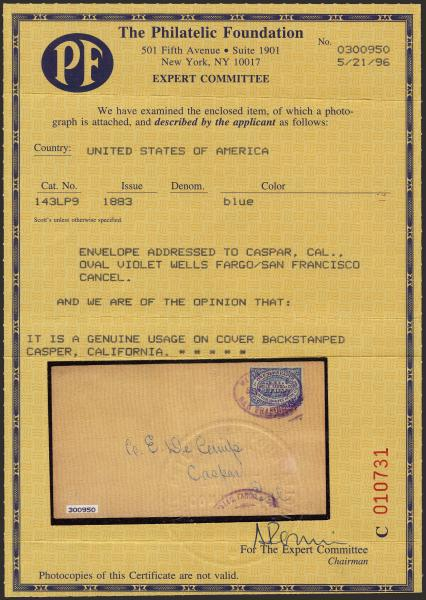 Lot 44 - united states postal history Wells Fargo & Co. Express -  H. R. Harmer Inc The